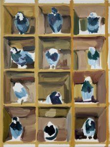 '12 Pigeons', Andee Collard, Oil on canvas, 61 x 46 cm
