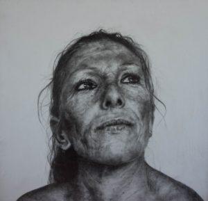 'Mum', Andrea Santi, Graphite on wood, 35 x 33 cm