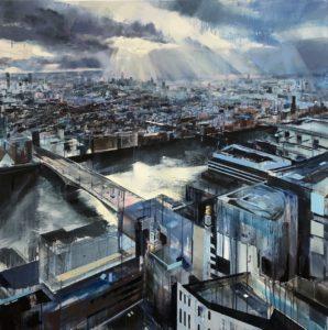 'Sun over South London', Angela Webb, Oil and acrylic on canvas, 100 x 100 cm