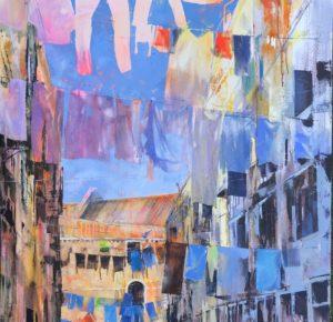 'Venetian washday', Angela Webb, Oil and acrylic on canvas, 100 x 100 cm