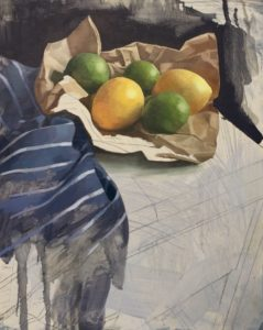 'Lemons and Limes', Angelo Murphy, Oil on canvas, 30 x 40 cm