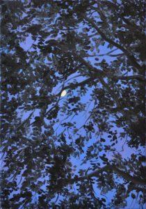 'Purple moon', Anika Mariam Ahmed, Oil on linen, 50 x 35 cm