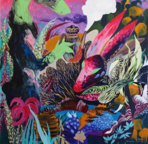 'Pink and green bunny', Anna Onikiienko, Acrylic on canvas, 80 x 80 cm