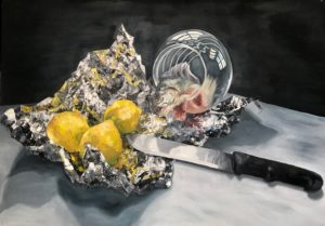 'Still Life with Fish', Anne Moorhouse, Oil on board, 80 x 112 cm