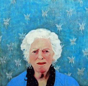 'Portrait of a young girl in the body of an elderly woman', Barbara Ash, Acrylic on canvas, 60 x 60 cm