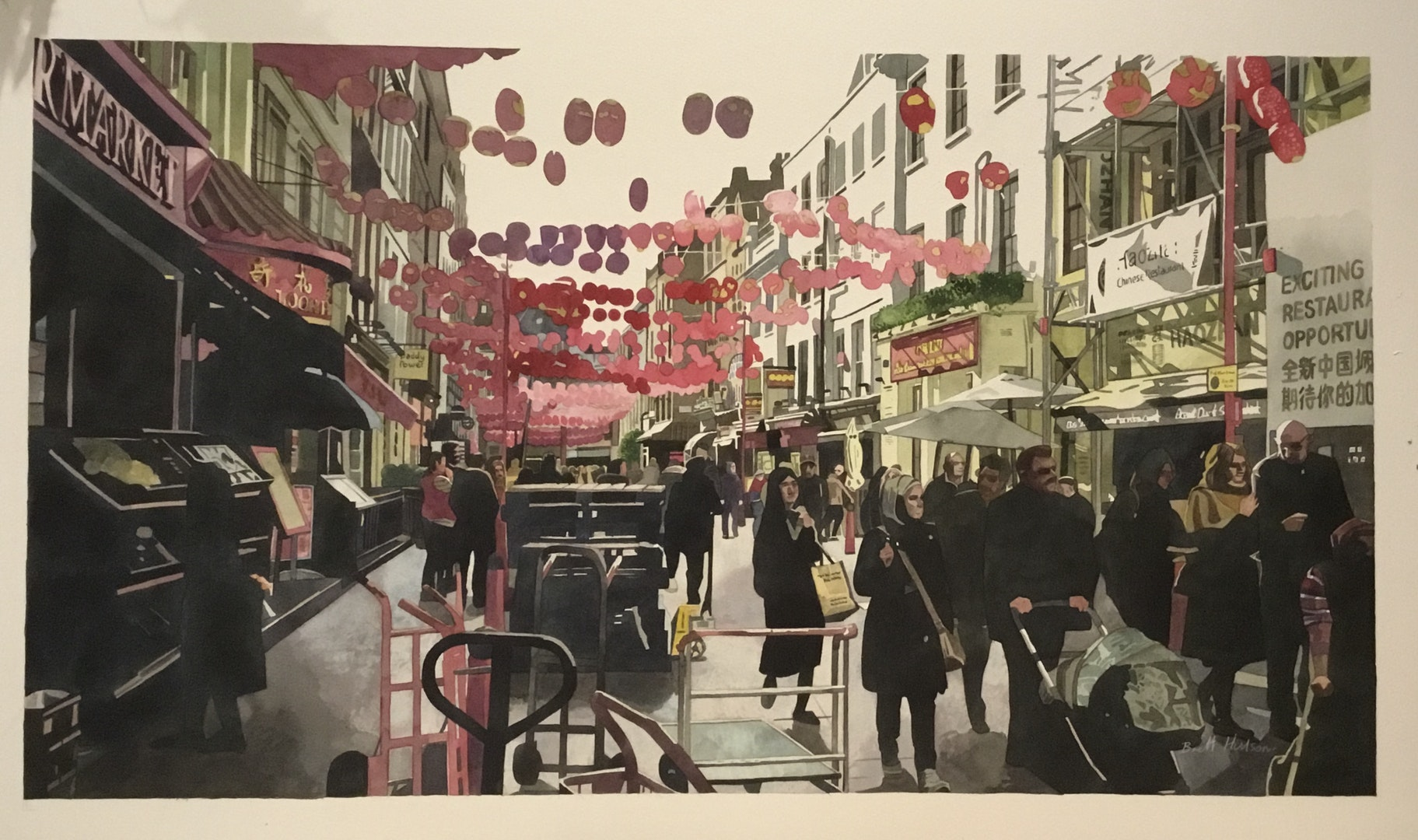 'Brett Hudson, China Town', Brett Hudson, Watercolour on paper, 70 x 80 cm