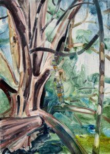 'Tree Climber III', Caroline Thomson, Oil on canvas, 35 x 25 cm