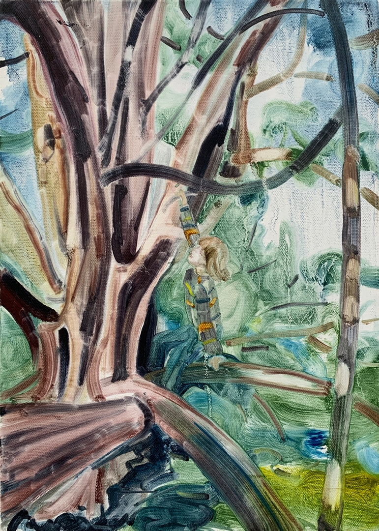 'Tree Climber III', Caroline Thomson, Oil on canvas, 35 x 25 cm