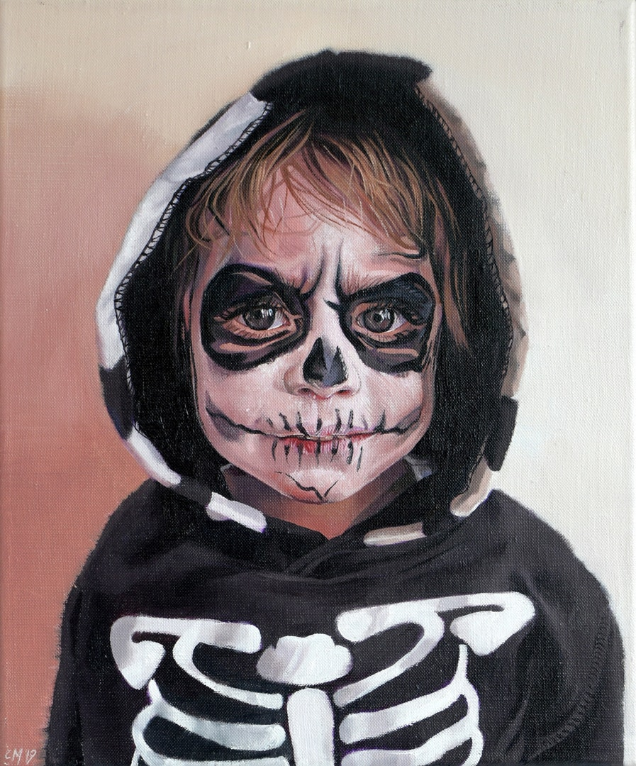 'Behind the Skull Paint', Catherine Macdiarmid, Oil on linen, 30 x 25 cm