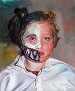'Behind the Two Face Paint', Catherine Macdiarmid, Oil on linen, 30 x 25 cm