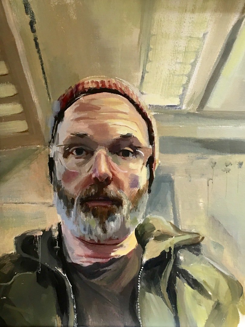 'Self portrait on train', Chris Longridge, Acrylic on canvas, 50 x 40 cm