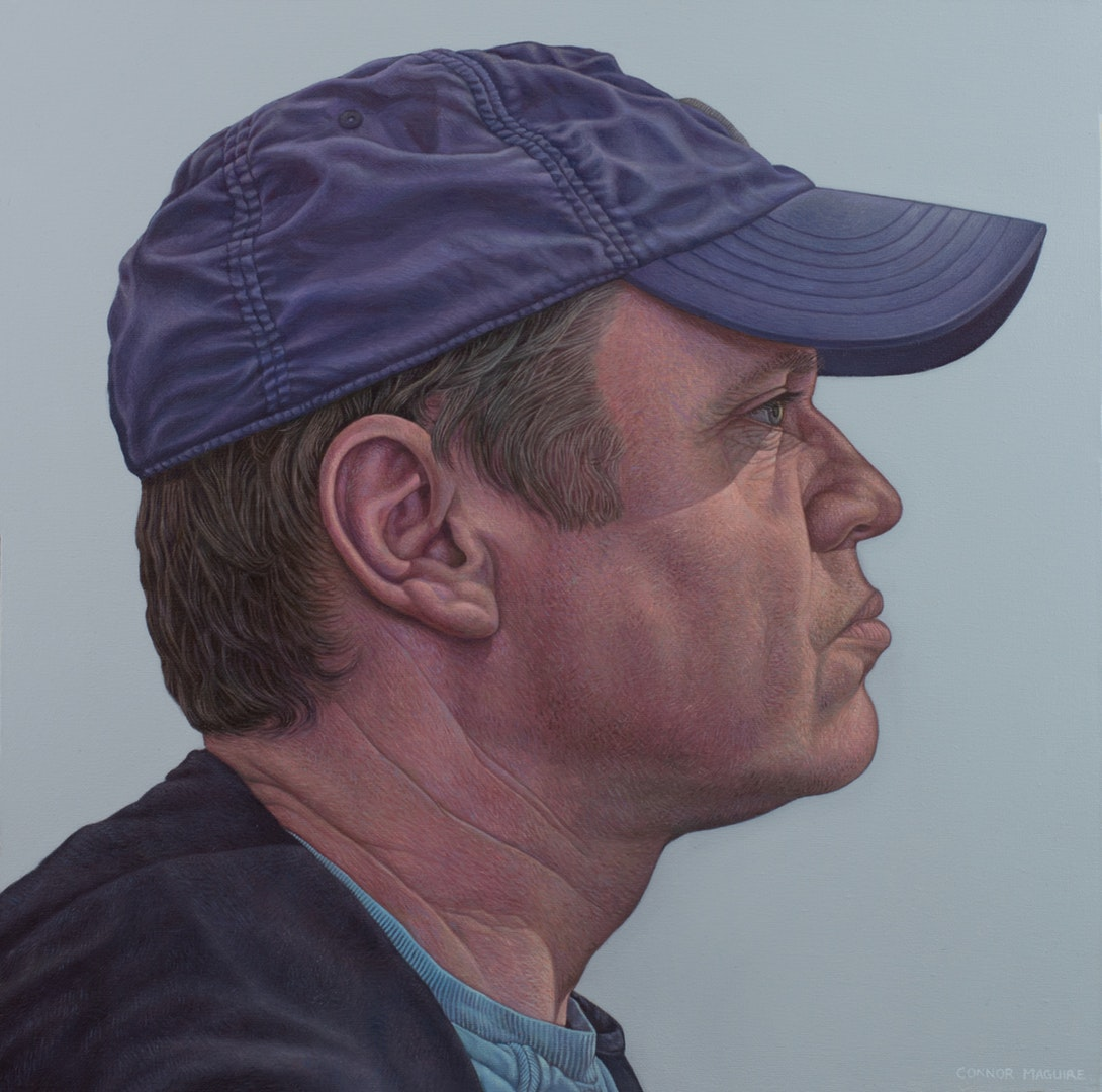 'Man in a hat', Connor Maguire, Oil on canvas, 50 x 50 cm