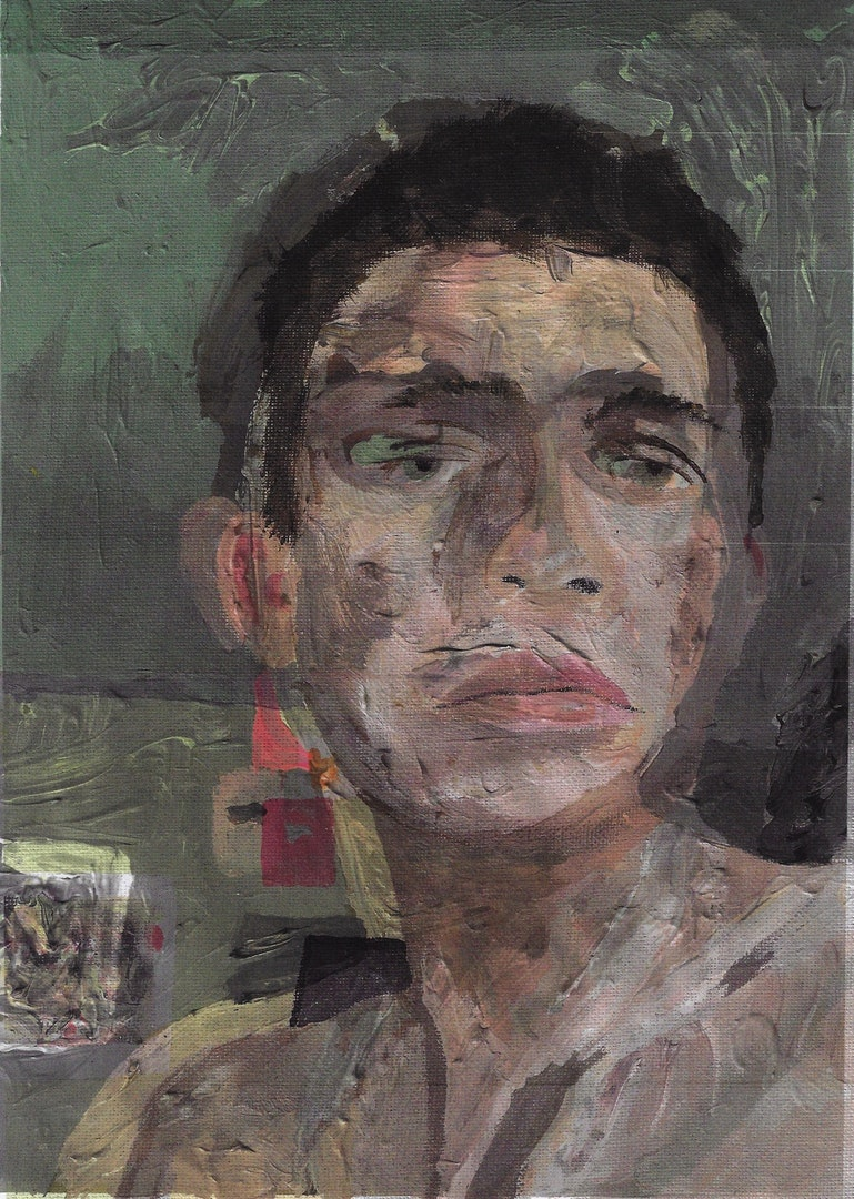 'Double Layered Self Portrait 1', Daniel Borrow, Acrylic paint, canvas board, paper and photocopier on printer paper, 91 x 61 cm