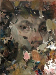 'Untitled', Daria Rubliova, Oil on paperboard, 15 x 10 cm