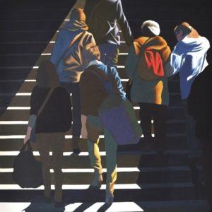 'Stairs', Dariusz Milczarek, Yolk tempera on canvas, 150 x 150 cm