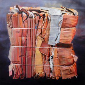 'Cardboard Bundle I', David Agenjo, Oil on linen, 110 x 110 cm