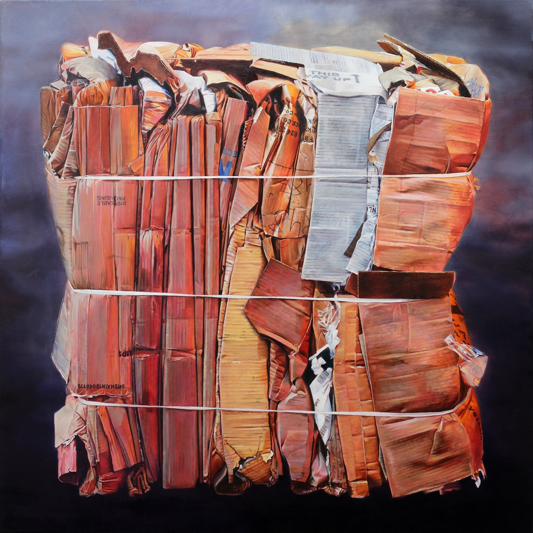 'Cardboard Bundle I', David Agenjo, Oil on linen, 110 x 110 cm