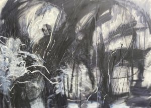 'Storm', Di Drummond, Mixed media on cradled board, 60 x 84 cm