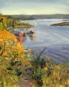 'Oslo Fjord in Autumn', Douglas Hamilton, Oil on board, 24 x 30 cm