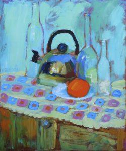 'Orange', Elena Nikiforova, Acrylic, Oil on canvas, 50 x 40 cm