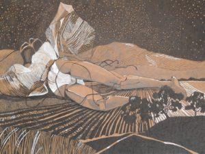 'The Strings That Broke', Elizabeth McCrimmon, Ink, pencil and white gel pen, 29.5 x 42 cm