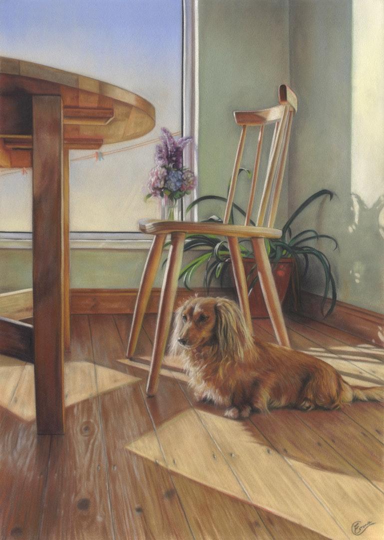 'Sun Trap', Emma Colbert, Soft pastel on velour pastel paper, 50 x 35 cm