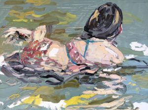 'Sea Water', Emma Copley, Oil on wood panel, 30 x 40 cm
