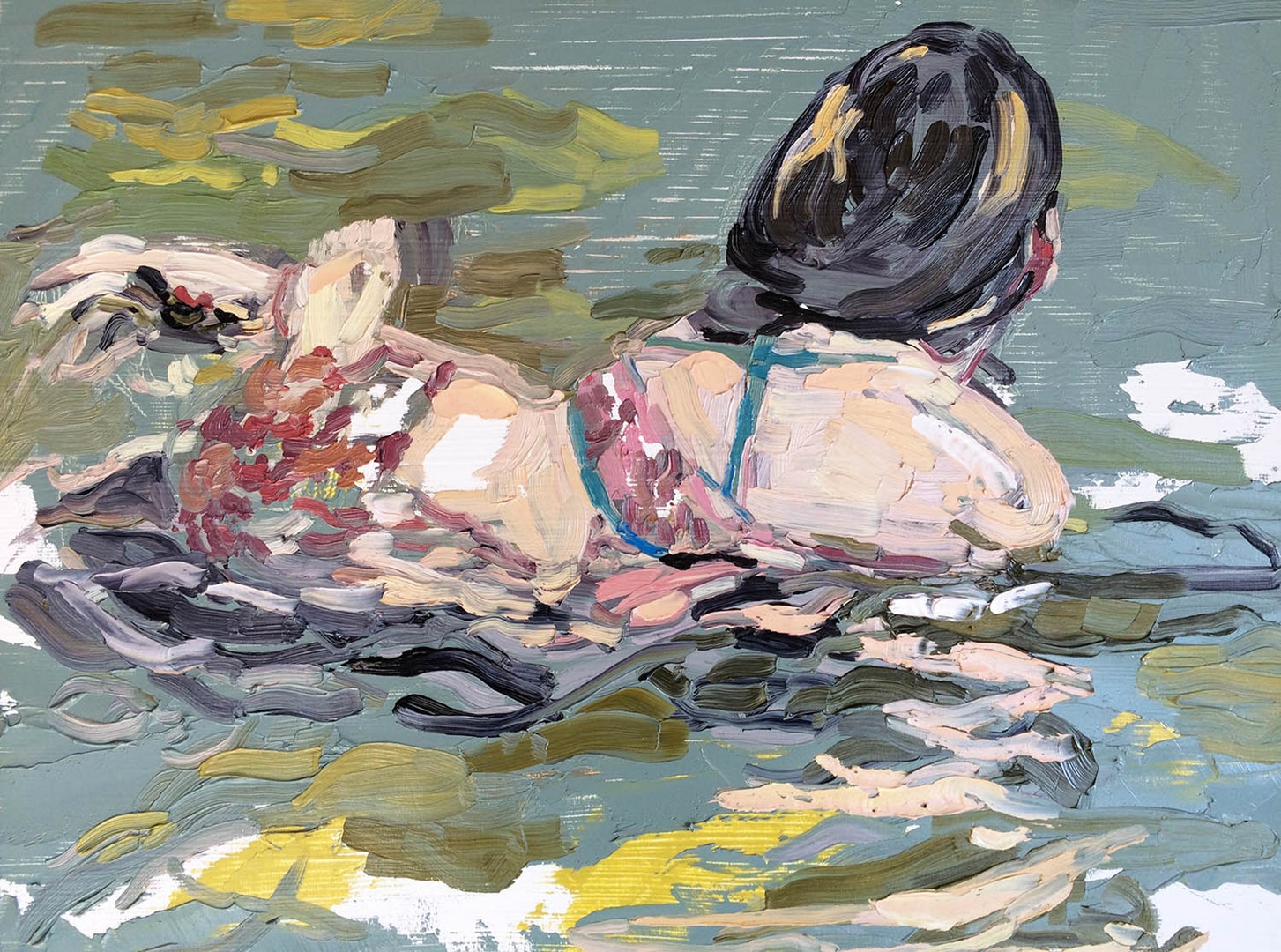 'Sea Water', Emma Copley, Oil on wood panel, 30 x 40 cm