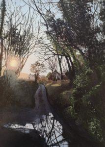 'Dusk on the Lane', Esther Jeanes, Acrylic on khadi paper, 21 x 15 cm