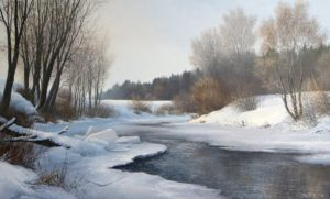 'Getting warmer', Evgeny Stain, Oil on canvas, 60 x 100 cm