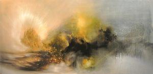 ''Floating Stone', Fernando Velazquez, Oil on canvas, 50 x 100 cm