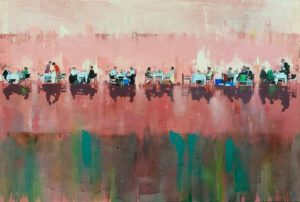 'All the world's a stage', Frances Featherstone, Oil on canvas, 60 x 100 cm