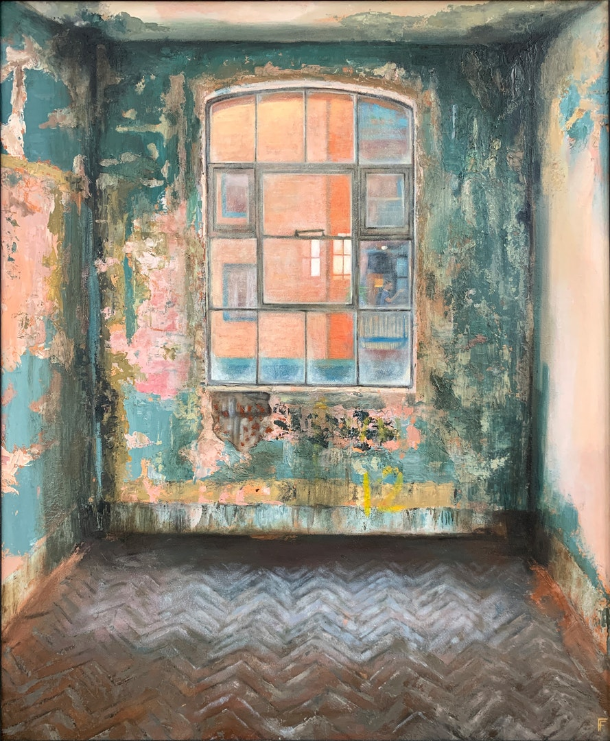 'Bargehouse', Frances Featherstone, Oil on board, 61 x 51 cm