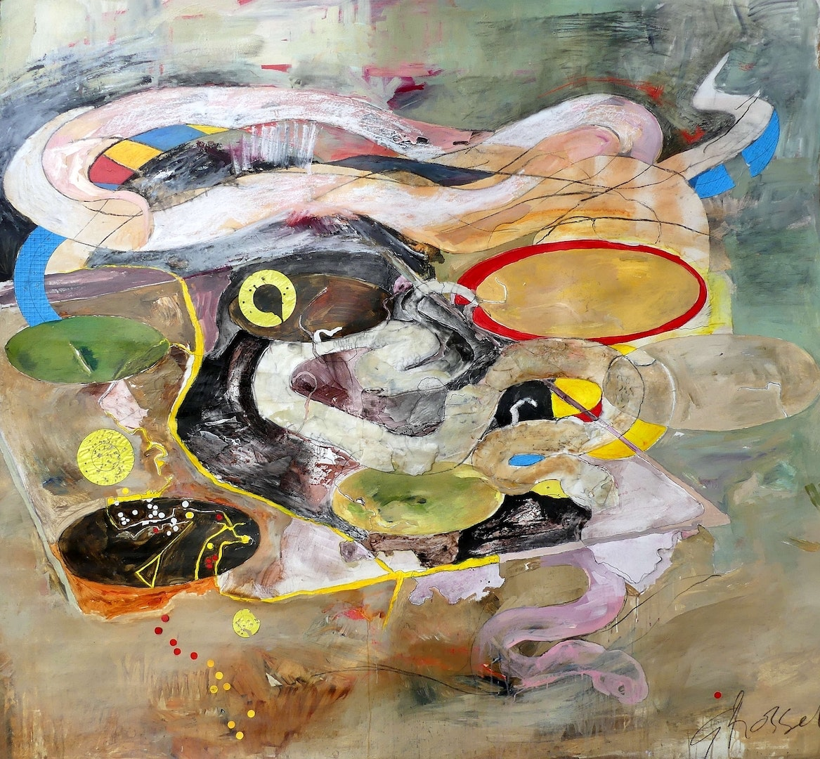 'Snakes and Ladders', Gillian Rosselli, Collage, wax, acrylic, charcoal, 218 x 227 cm