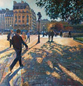 'Autumn Shadows, Paris', Hilary Burnett Cooper, Acrylic, 72 x 72 cm