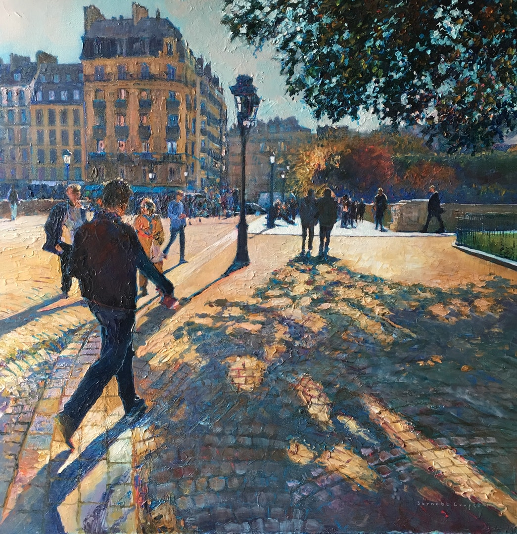 'Autumn Shadows, Paris', Hilary Burnett Cooper, Acrylic, 72 x 72 cm