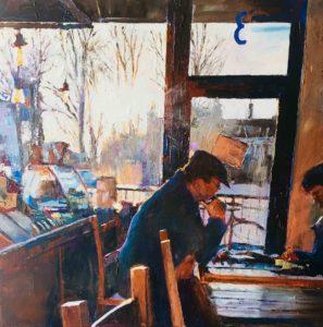 'Cafe Contemplations, York', Hilary Burnett Cooper, Acrylic, 70 x 70 cm