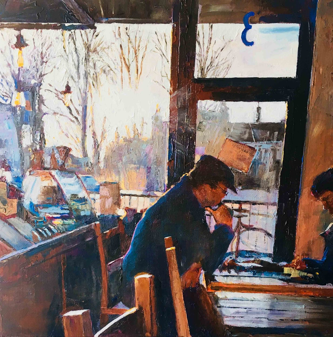 'Cafe Contemplations, York', Hilary Burnett Cooper, Acrylic, 70 x 70 cm