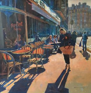 'Cafe Culture, Paris', Hilary Burnett Cooper, Acrylics, 72 x 72 cm