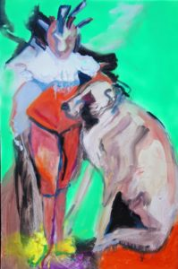 'The Birdman', Honorata Gawronska, Oil, Acrylic, spray pain on canvas, 76.5 x 51 cm