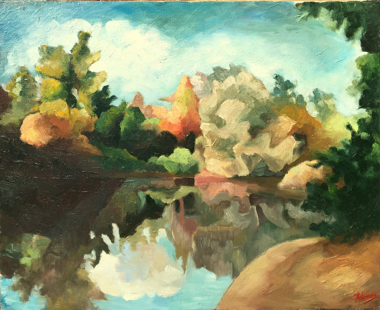 'Pond in Autumn'', Horia Solomon, Oil on canvas, 55 x 45 cm