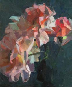 'Vertical Roses 1', James Bland, Oil on linen, 30 x 25 cm