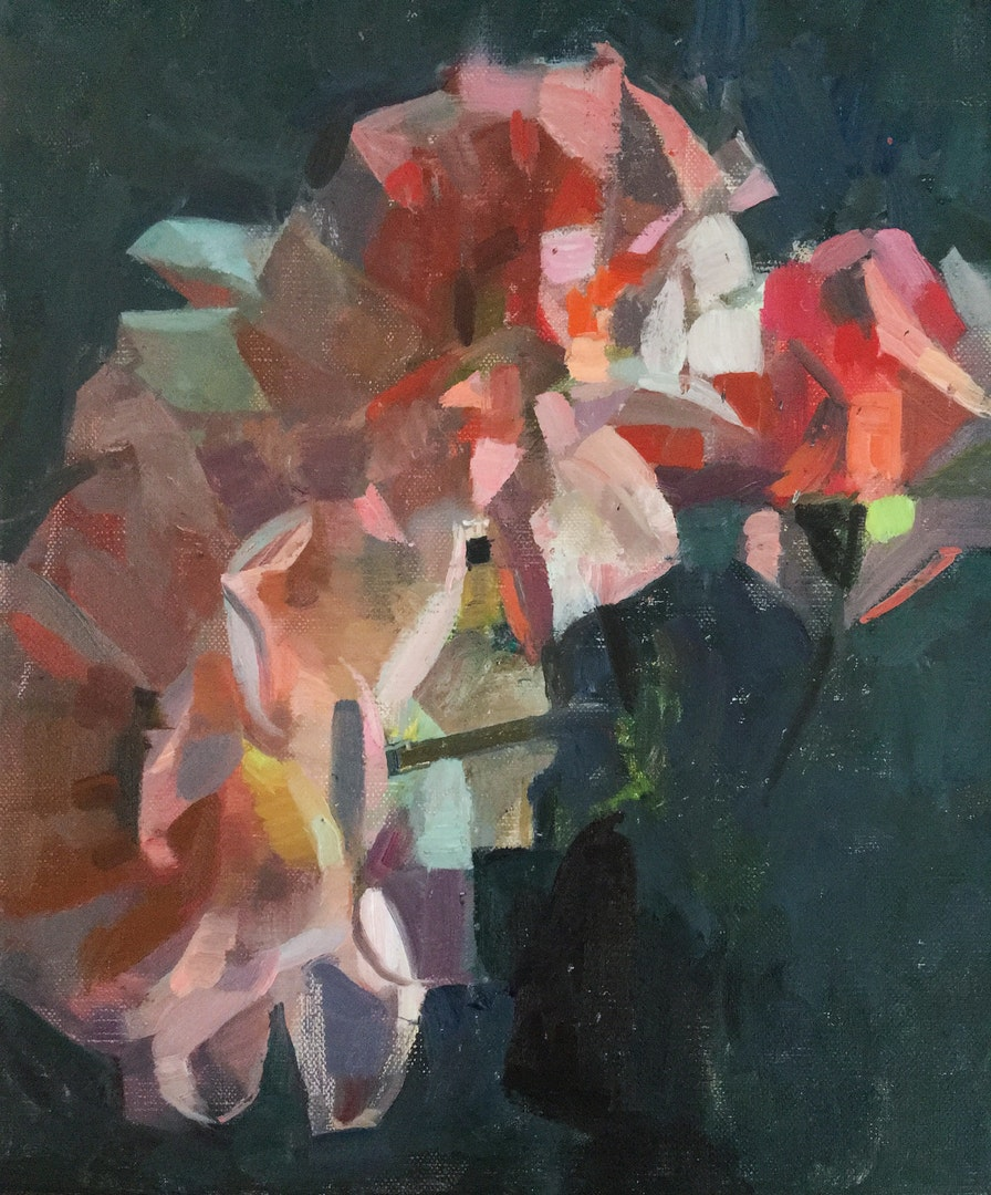 'Vertical Roses 1', James Bland, Oil on linen, 30 x 25 cm