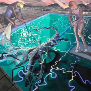 'Two figures with crocodilian', James Dearlove, Oil and acrylic on linen, 200 x 200 cm