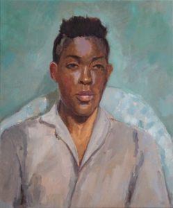 'Fola in Grey Shirt', Jane Palmer, Oil on canvas, 61 x 50.8 cm