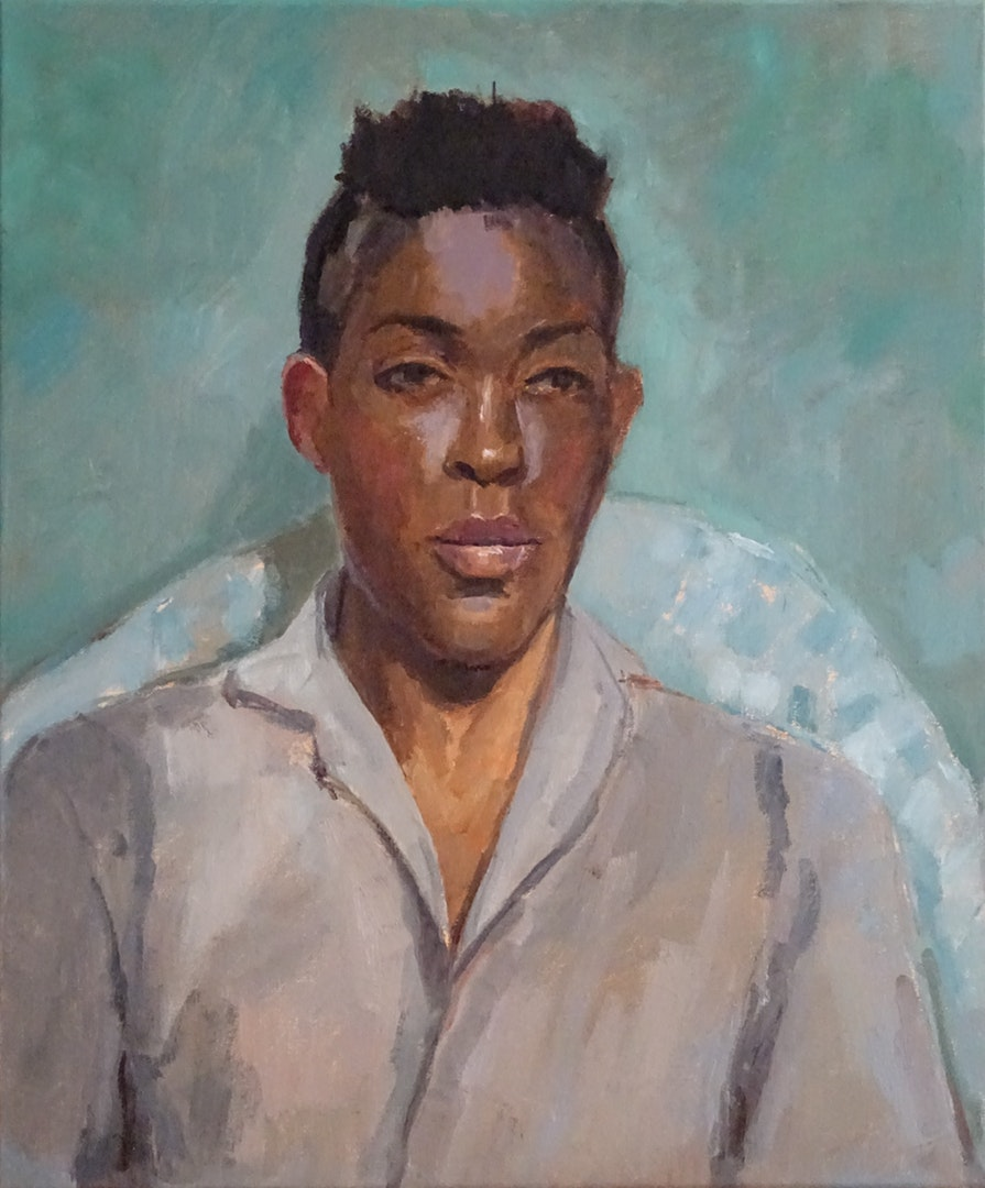 'Fola in Grey Shirt', Jane Palmer, Oil on canvas, 61 x 50.8 cm