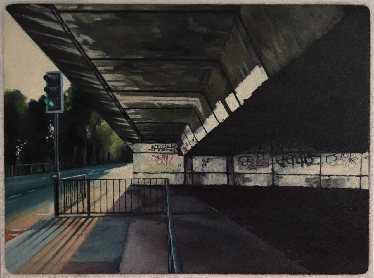 'It's the Manc Way - Safe Passage', Jen Orpin, Oil on primed panel, 23 x 30 cm