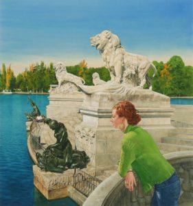 'By the Pond', Jose Gonzalez-Bueno, Watercolour, 71 x 66 cm