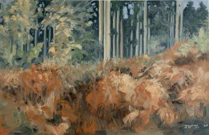 'Autumn Firs & Ferns II', Joseph Harper, Oil on canvas, 150 x 100 cm