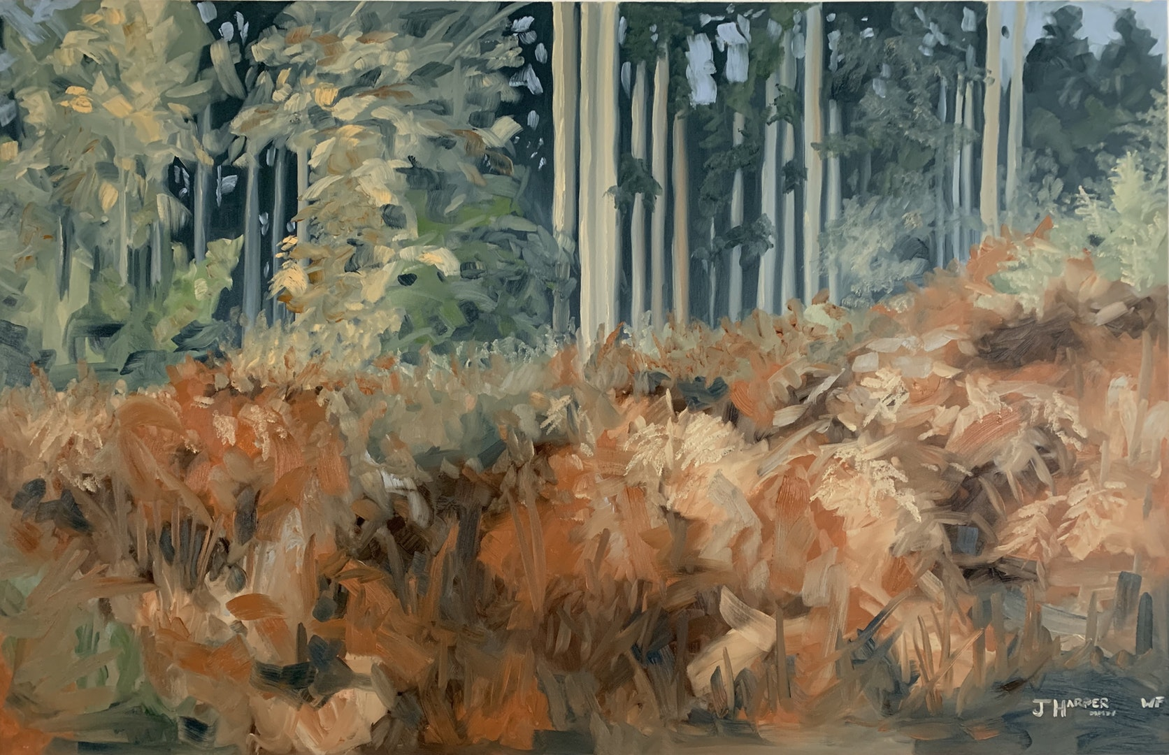 'Autumn Firs & Ferns II', Joseph Harper, Oil on canvas, 150 x 100 cm